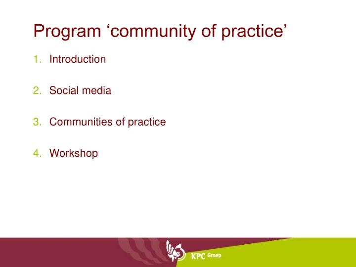 Program community of practice