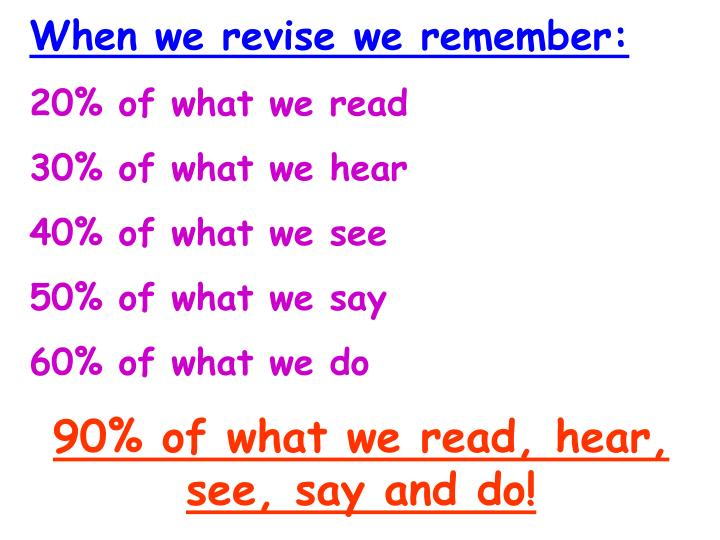 When we revise we remember: