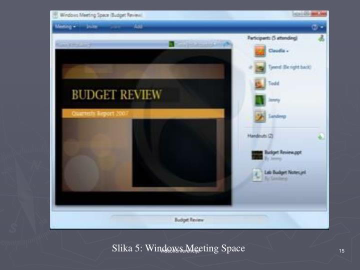 Slika 5: Windows Meeting Space