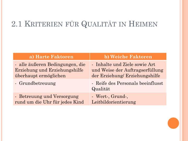 2.1 Kriterien für Qualität in Heimen