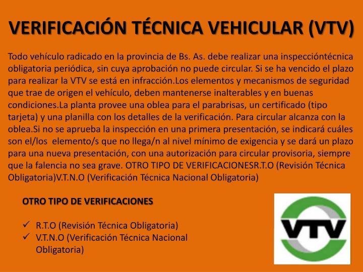 VERIFICACIÓN TÉCNICA VEHICULAR (VTV)