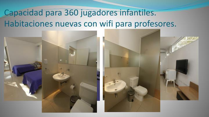 Capacidad para 360 jugadores infantiles. Habitaciones nuevas con wifi para profesores.