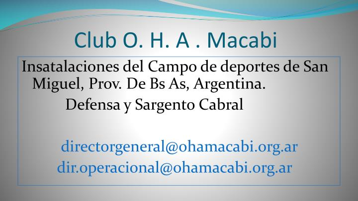 Club o h a macabi