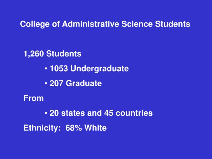 College of Administrative Science Students