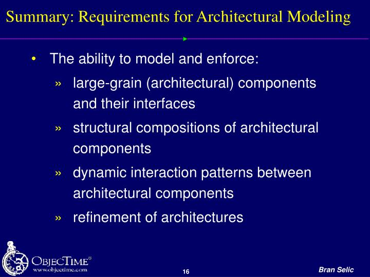 Summary: Requirements for Architectural Modeling