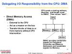 delegating i o responsibility from the cpu dma