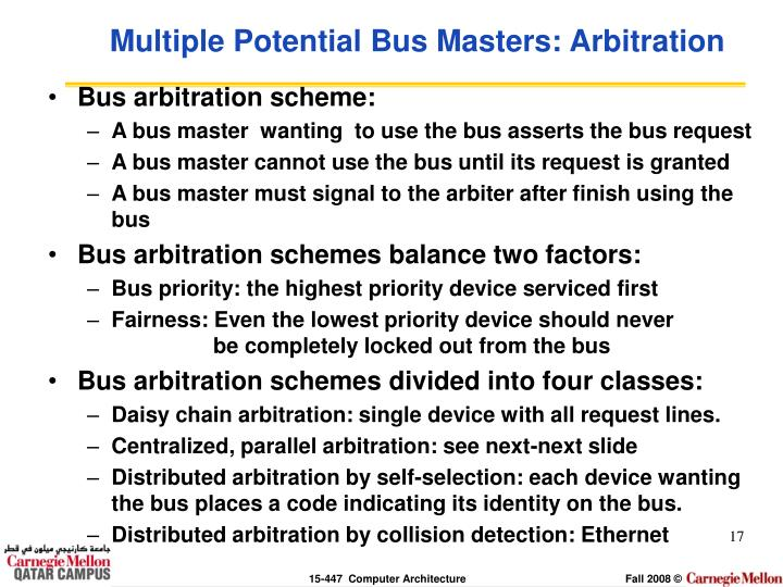 Multiple Potential Bus Masters: Arbitration