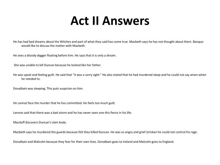 Act II Answers