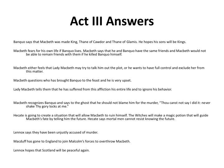 Act III Answers