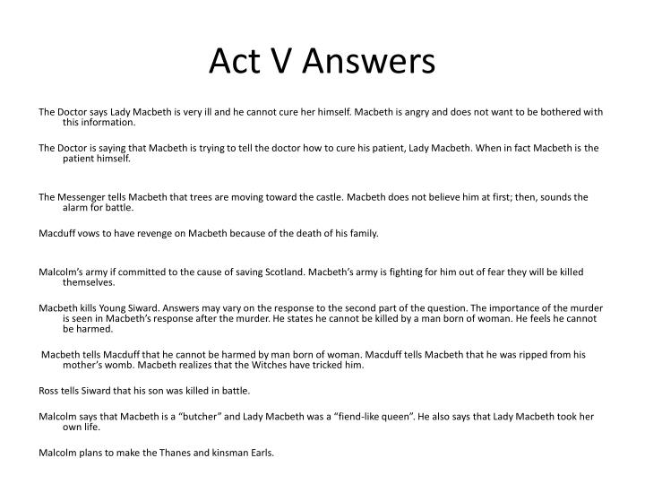 Act V Answers
