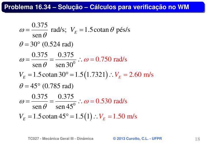 Problema 16.34 – Solução – Cálculos para verificação no WM