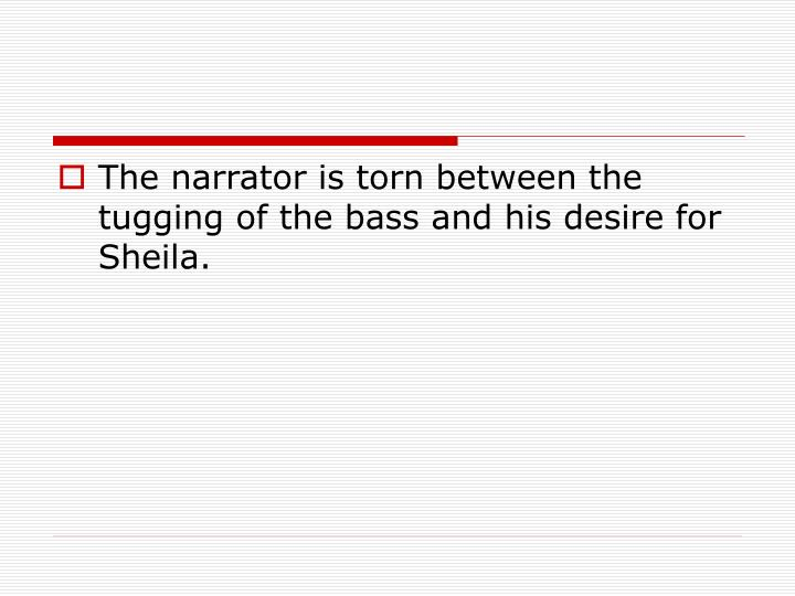 The narrator is torn between the tugging of the bass and his desire for Sheila.