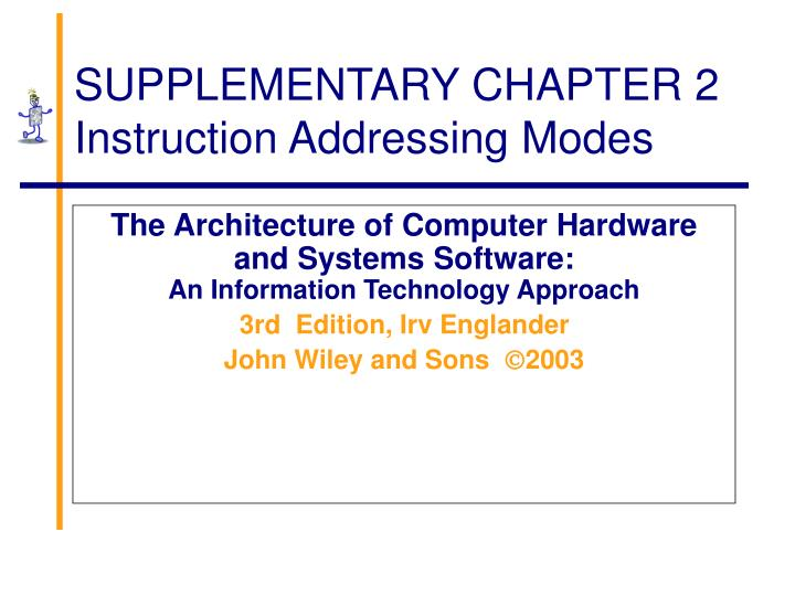 supplementary chapter 2 instruction addressing modes