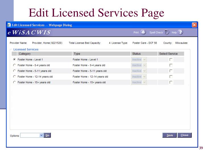 Edit Licensed Services Page