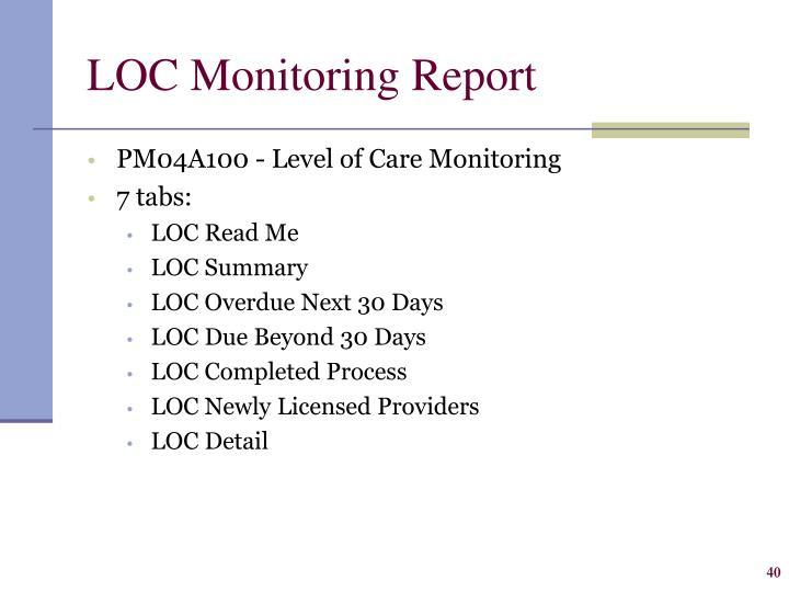 LOC Monitoring Report