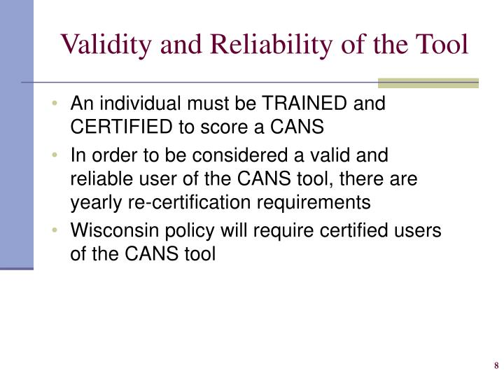 Validity and Reliability of the Tool