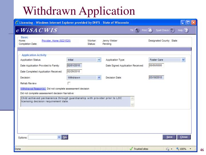Withdrawn Application