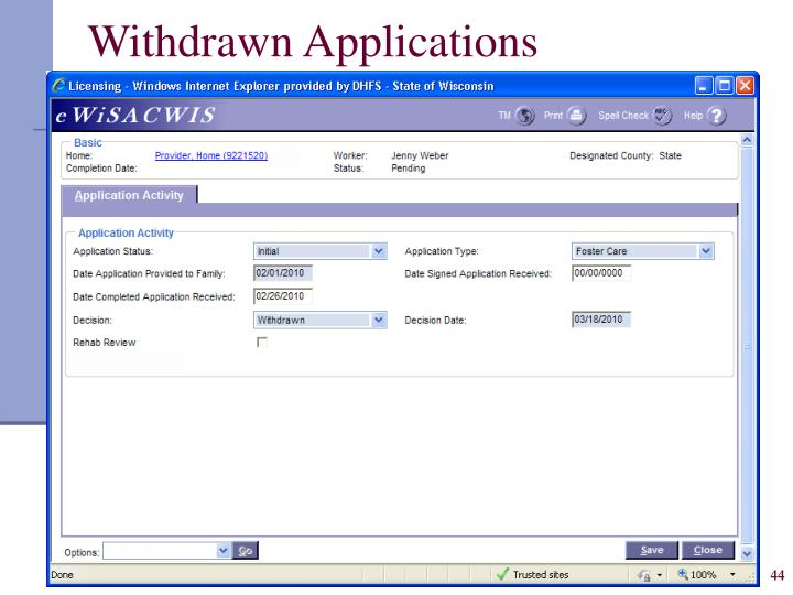 Withdrawn Applications