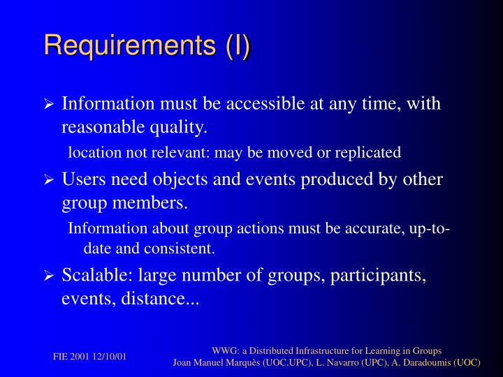 Requirements (I)