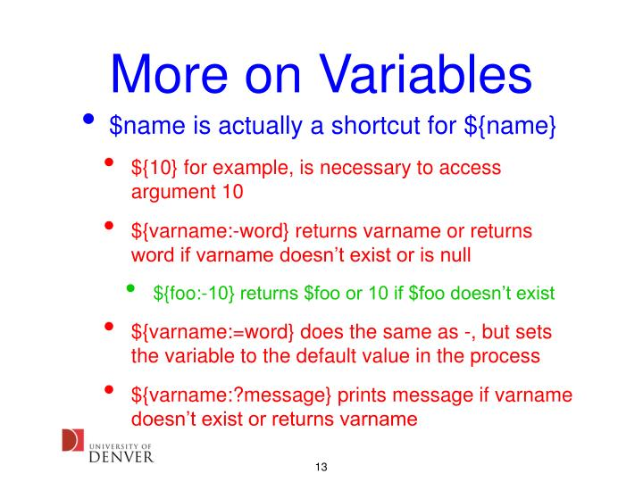 More on Variables