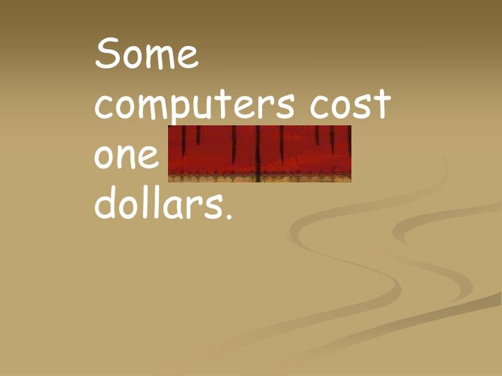 Some computers cost one thousand dollars