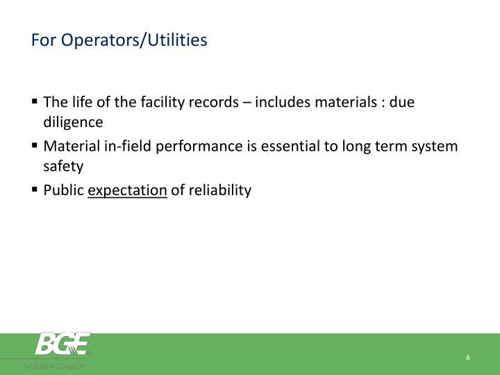 For Operators/Utilities