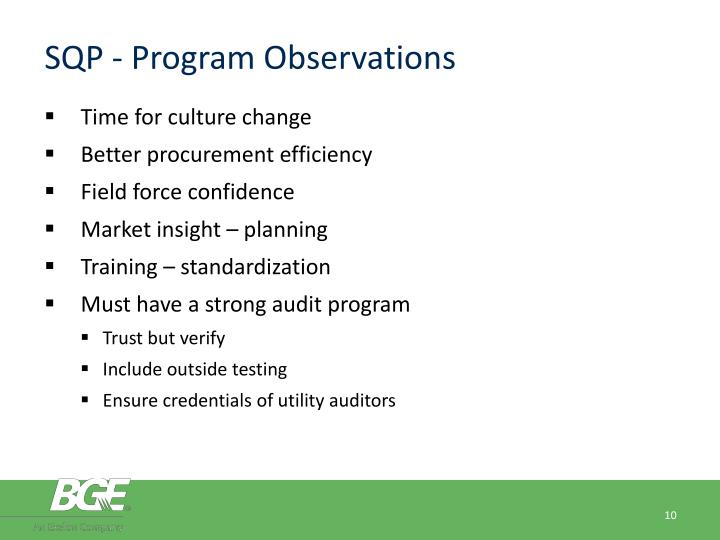 SQP - Program Observations