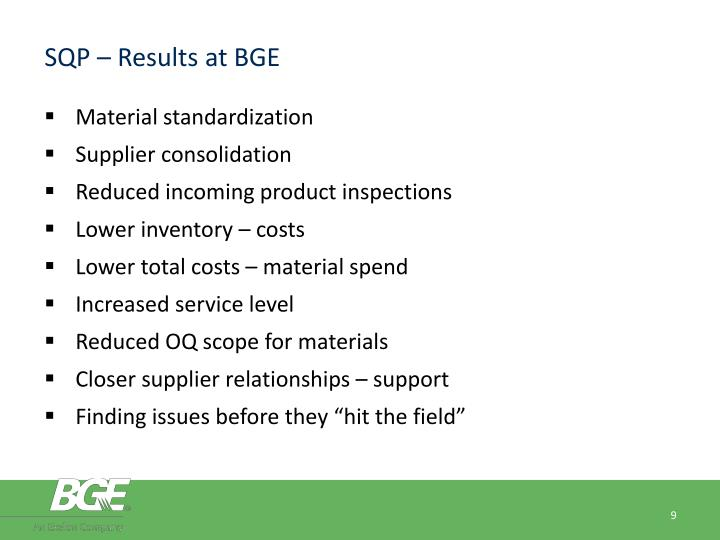 SQP – Results at BGE