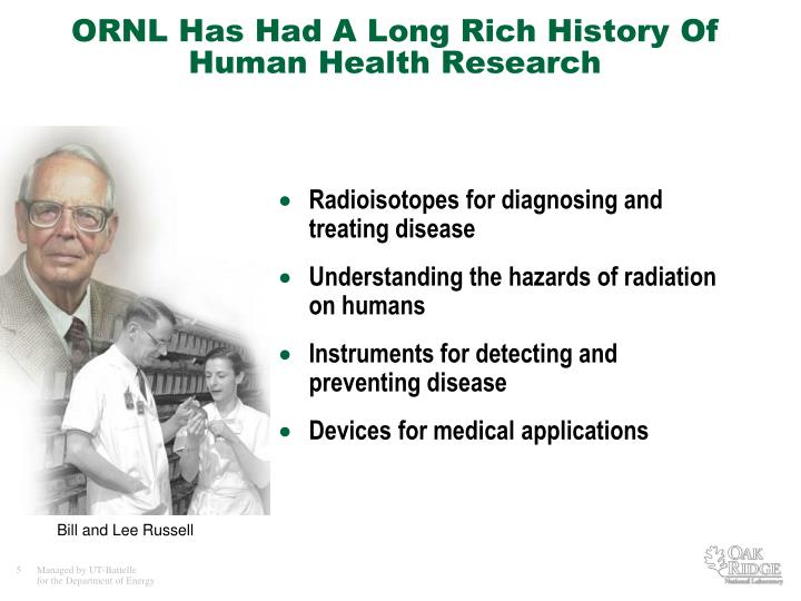 ORNL Has Had A Long Rich History Of Human Health Research