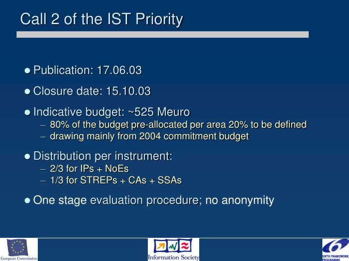 Call 2 of the IST Priority