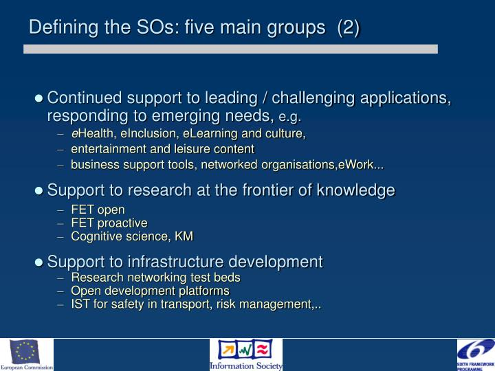 Defining the SOs: five main groups  (2)