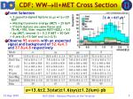 cdf ww ll met cross section