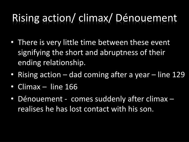 Rising action/ climax/ Dénouement