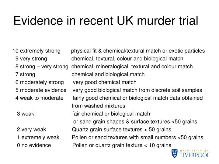 Evidence in recent UK murder trial
