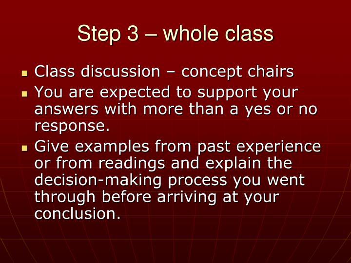 Step 3 – whole class
