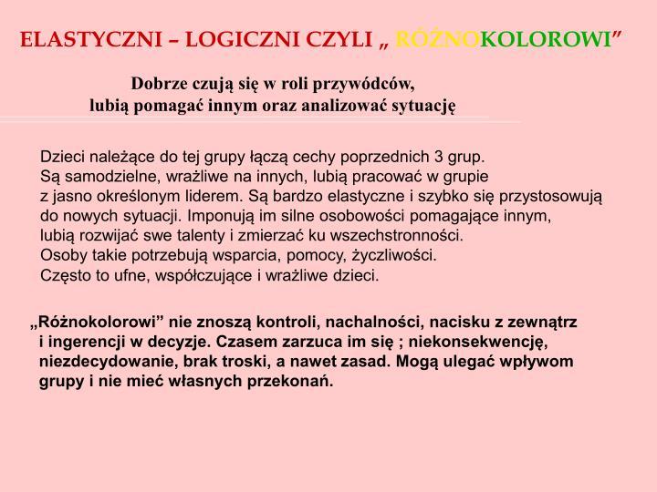 """ELASTYCZNI – LOGICZNI CZYLI """""""