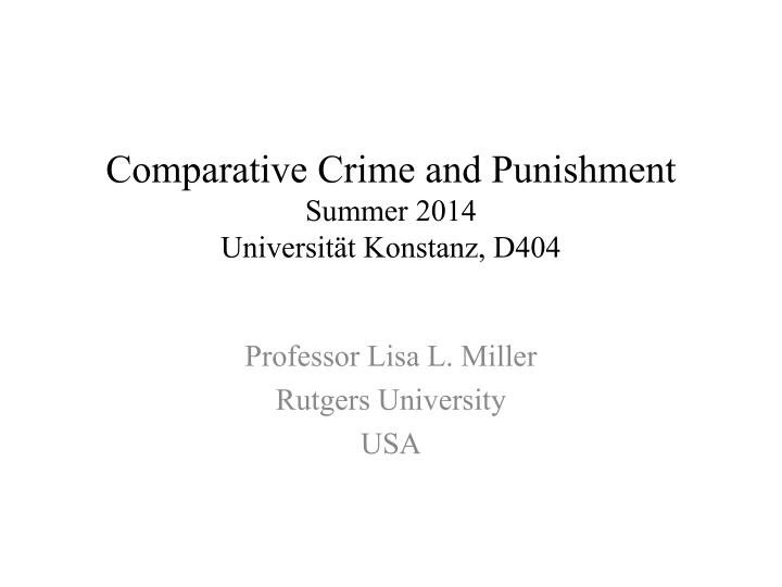 Comparative Crime and Punishment