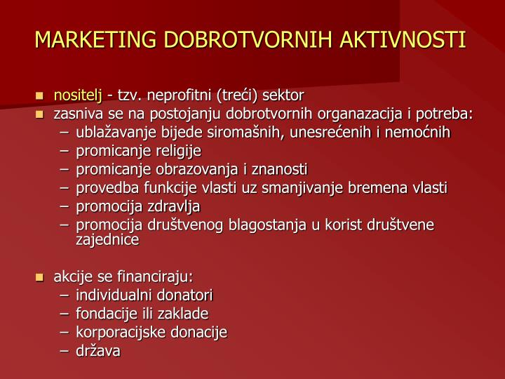 MARKETING DOBROTVORNIH AKTIVNOSTI