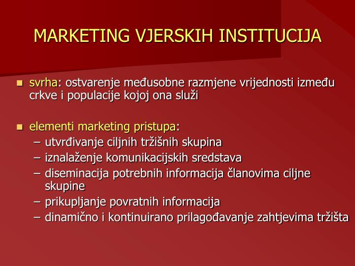 MARKETING VJERSKIH INSTITUCIJA
