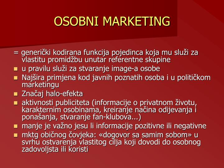 OSOBNI MARKETING