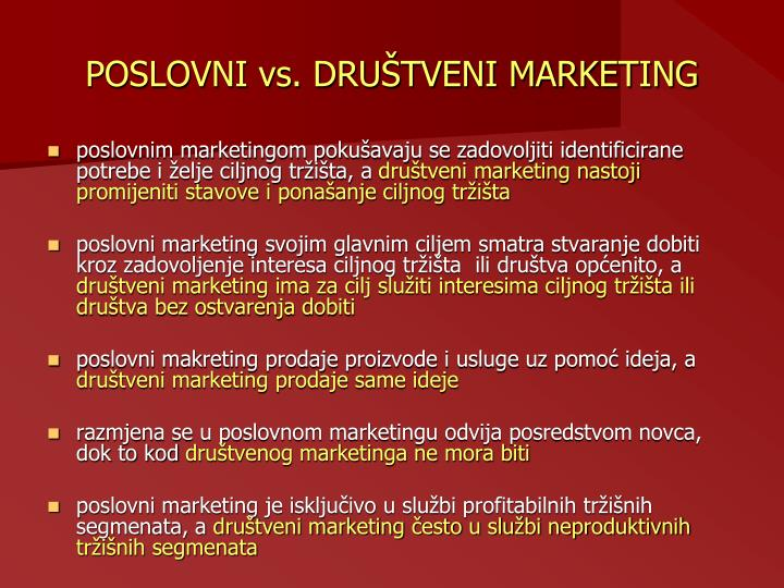 POSLOVNI vs. DRUŠTVENI MARKETING