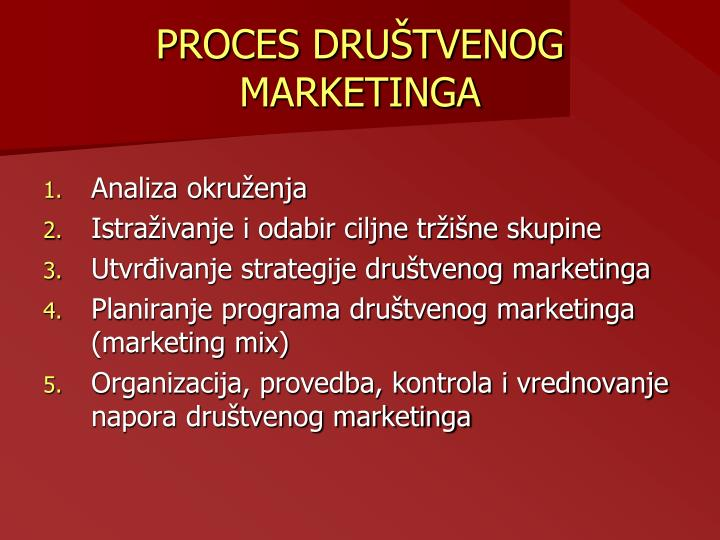 PROCES DRUŠTVENOG MARKETINGA