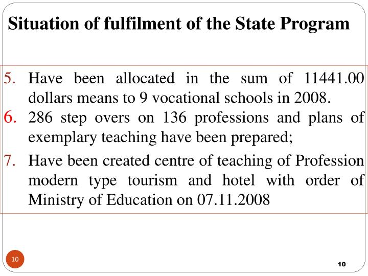 Situation of fulfilment of the State Program