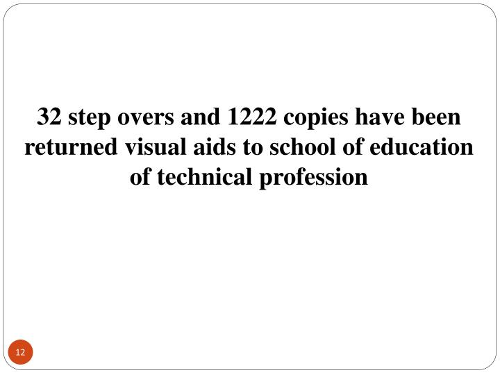 32 step overs and 1222 copies have been returned visual aids to school of education of technical profession