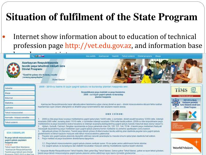 Internet show information about to education of technical profession page