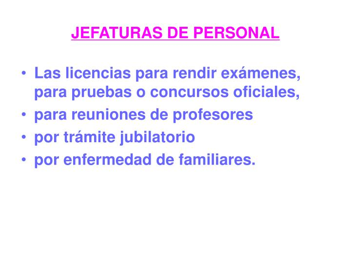 JEFATURAS DE PERSONAL