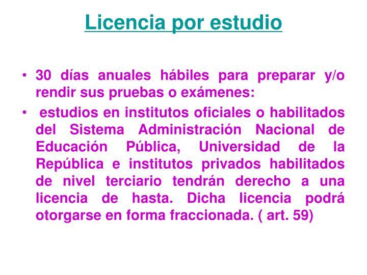 Licencia por estudio