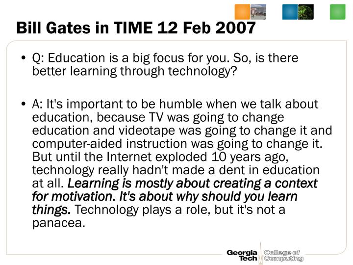 Bill Gates in TIME 12 Feb 2007