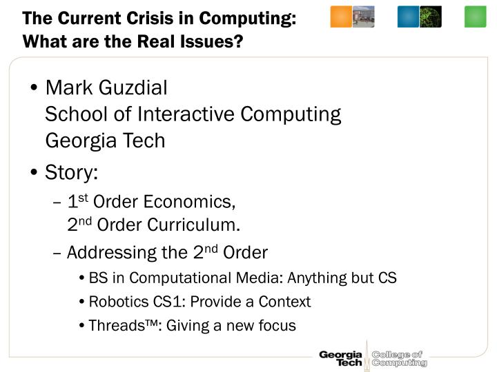 The current crisis in computing what are the real issues
