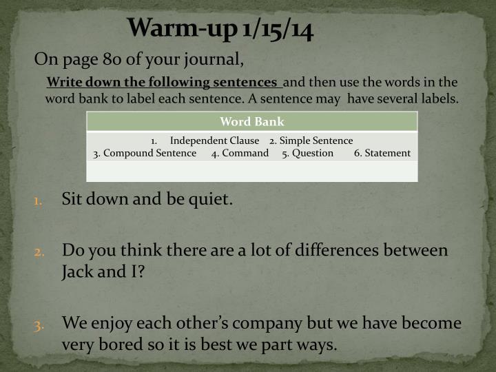 Warm-up 1/15/14